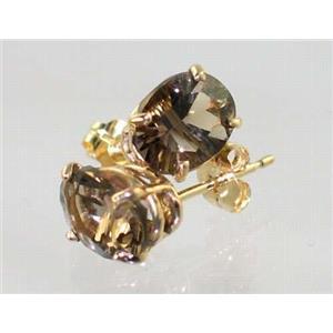 E002, Smoky Quartz, 14k Gold Earrings