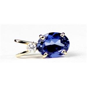 P020, Created Blue Sapphire, 14k Gold Pendant