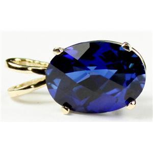 P004, Created Blue Sapphire 14K Gold Pendant