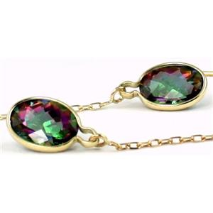 E005, Mystic Fire Topaz, 14k Gold Threader Earrings