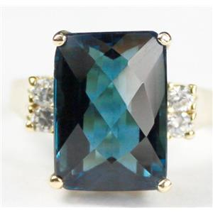 R201, London Blue Topaz, Gold Ring