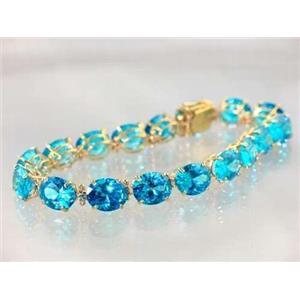 B003, Swiss Blue CZ Gold Bracelet