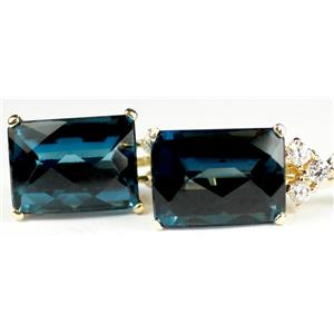 E334, Large London Blue Topaz, Emerald Cut,  accents 14K Gold Leverback Earrings