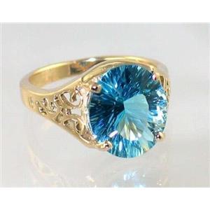 R057, Sky Blue Topaz (Quantum Cut), Gold Ring