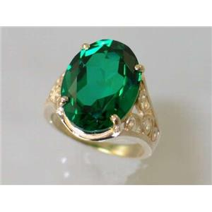 R057, Russian Nanocrystal Emerald, Gold Ring