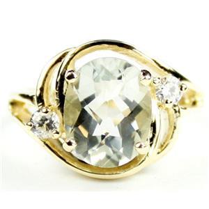R021, Green Amethyst, Gold Ring