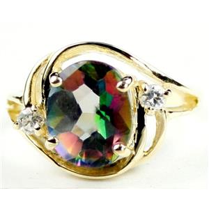 R021, Mystic Fire Topaz, Gold Ring