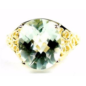 R057, Green Amethyst (Prasiolite), Gold Ring