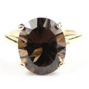 R055, Smoky Quartz (Quantum Cut), Gold Ring
