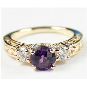 R254, Brazilian Amethyst w/ Accents, Gold Ring