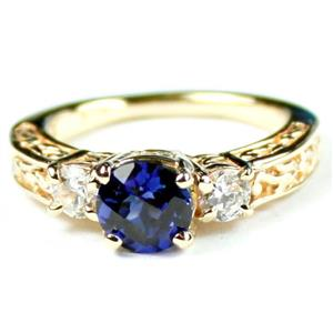 R254, Created Blue Sapphire w/ Accents, Gold Ring