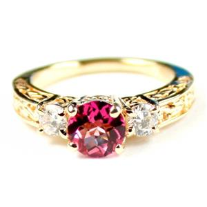 R254, Created Pink Sapphire w/ Accents, Gold Ring