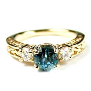 R254, Neptune Garden Topaz w/ Accents, Gold Ring