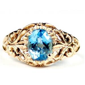R113, Swiss Blue Topaz, Gold Ring