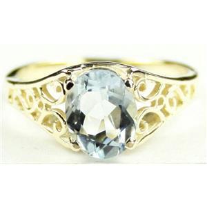 R005, Aquamarine, Gold Ring