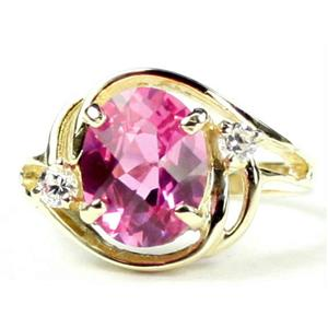 R021, Created Pink Sapphire, Gold Ring