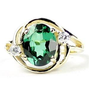 R021, Russian Nanocrystal Emerald, Gold Ring