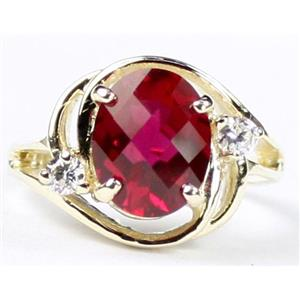 R021, Created Ruby, Gold Ring