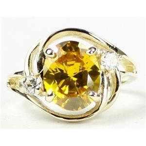 R021, Golden Yellow CZ CZ, Gold Ring