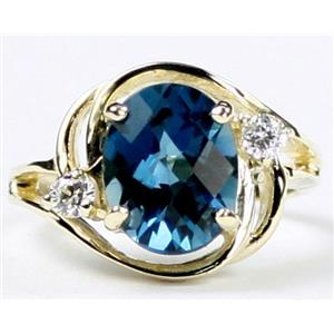R021, London Blue Topaz, Gold Ring