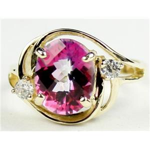 R021, Pure Pink Topaz, Gold Ring