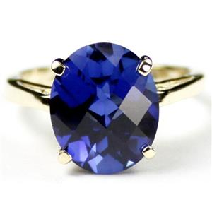R055, Created Blue Sapphire, Gold Ring