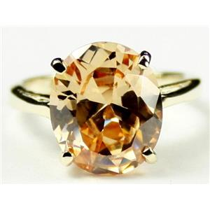 R055, Champagne CZ, Gold Ring