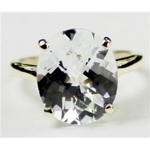 R055, Silver Topaz, Gold Ring