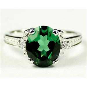SR136, Russian Nanocrystal Emerald, 925 Sterling Silver Ring