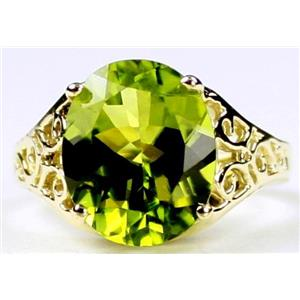 R057, Peridot Topaz, Gold Ring