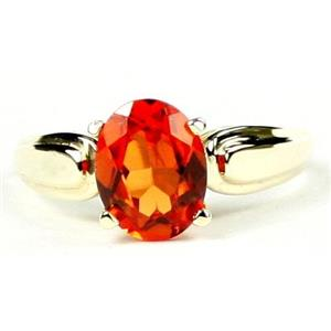 R058, Created Padparadsha Sapphire, Gold Ring