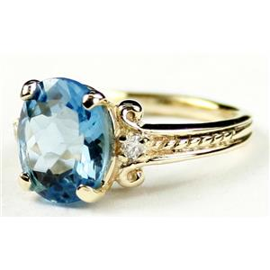 R136, Swiss Blue Topaz, Gold Ring