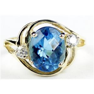 R021, Swiss Blue Topaz, Gold Ring