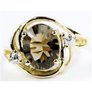 R021, Smoky Quartz, Gold Ring