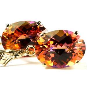 E407, Twilight Fire Topaz, 14k Gold Earrings