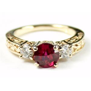 R254, Created Ruby w/ Accents, Gold Ring