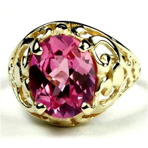 Created Pink Sapphire, Gold Ring R004