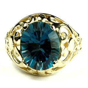 Quantum Cut London Blue Topaz, Gold Ring, R004