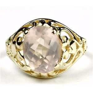 Rose Quartz, Gold Ring, R004