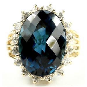 R270, London Blue Topaz, Gold Ring