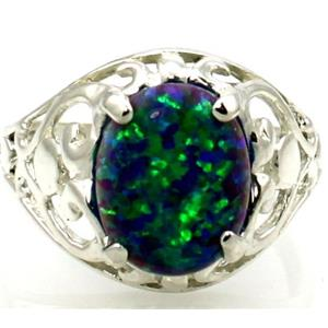Created Blue/Green Opal 925 Sterling Silver Ring, SR004
