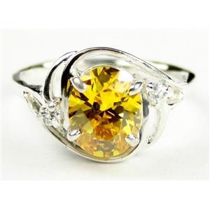 SR021, Golden Yellow CZ, 925 Sterling Silver Ring