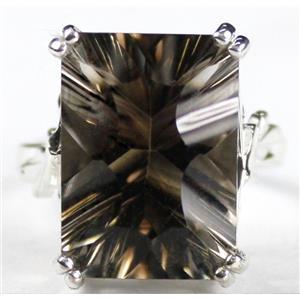SR039, 18x13mm Smoky Quartz, 925 Sterling Silver Ring