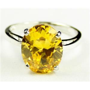 Golden Yellow CZ, 925 Sterling Silver Ring, SR055