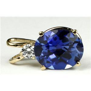P022, Created Blue Sapphire 14K Gold Pendant
