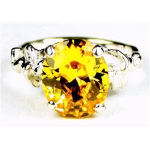Golden Yellow CZ, 925 Sterling Silver Ring, SR154