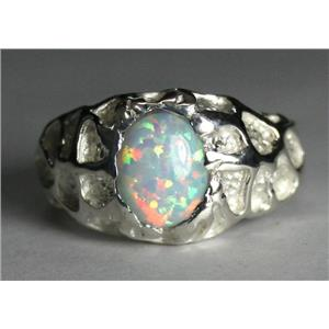 SR168, Created White Opal, 925 Sterling Silver Ring