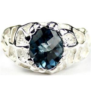 SR168, London Blue Topaz, 925 Sterling Silver Ring