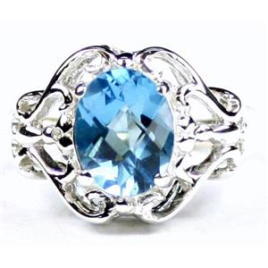 SR169, Swiss Blue Topaz, 925 Sterling Silver Ring