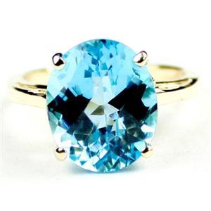 R055, Swiss Blue Topaz, Gold Ring